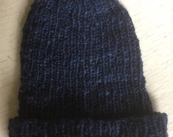 Navy blue handspun, hand knitted hat