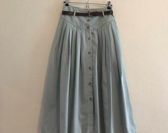 1980's Calvin Klein Sport Maxi  Blue Button Front Skirt