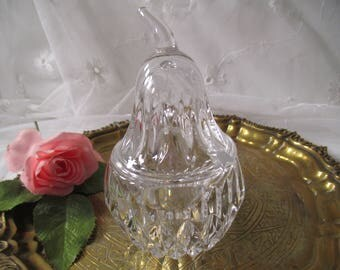 Vintage Jam glass crystal, crystal glass jam, crystal, crystal glass sugar bowl with lid, jewelry box, candy can, pear