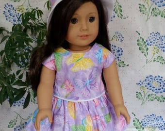 """Lavender Butterfly Dress with Hat for 18"""" or American Girl Dolls"""