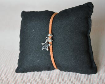 Camel suede bracelet with Silver Star