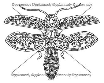 Lightning Bug Firefly Zentangle Coloring Page