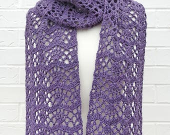 Purple Lace Crochet Scarf, Chunky and Luxurious High Quality Wool and Alpaca Yarn, Lavender All Seasons Long Lacy Scarf, Ladies Accessories