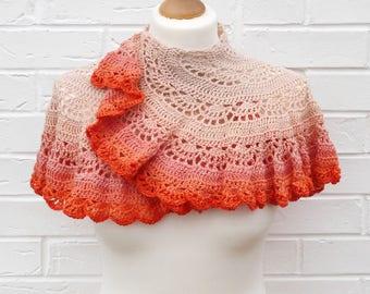 Crochet Lace Capelet Gradient Cream Peach Orange, Petite Summer Shawlette, Elegant Lace Shoulder Shawl, Wedding Evening Dress Capelet