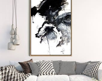 Abstract Painting, Abstract Art Print, Large Wall Art, Abstract Print, Black Abstract Art, MonochHome Decor, Wall Decor, Instant Download
