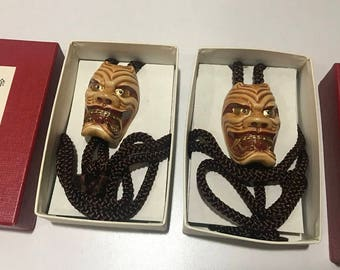 Vintage Porcelain Ceramic Kabuki Mask Bolo Tie Necklace set of 2