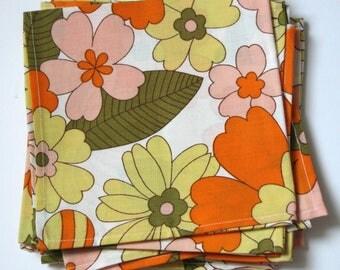 8 vintage floral napkins