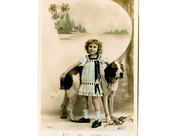 Adorable dog and little girl-old postcard black and white colorized - child and dog-French antique 1900 s