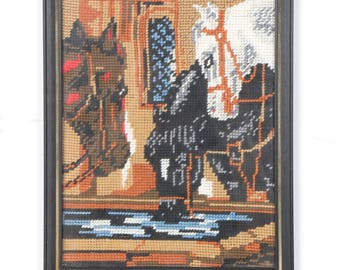 Equestrian framed needlepoint wall hanging