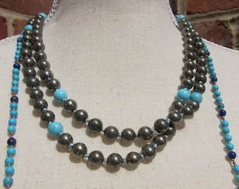 Pyrite + Turquoise Napping Necklace - Genuine Gemstones & Pure Silk Thread