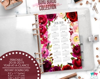 Printable Calendar A5 A4 Letter Watercolor Planners 2018-2019 Year at a Glance | Boho Bordo Floral Collection | BBCYG1819