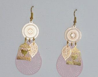 Earrings drops, cage birds, leaves, birds, prints, pastel rose ear studs, gold, spring Earrings
