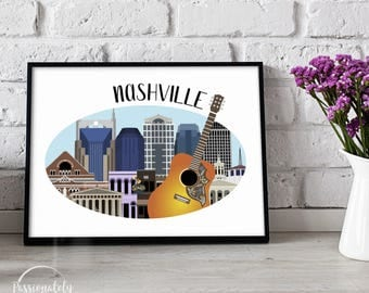 Nashville Skyline Illustration - Music City Illustration - Wall Art - Digital Download