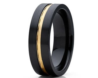 Men's Black Wedding Band Black Zirconium Wedding Ring 14k Yellow Gold Matte Brush Style