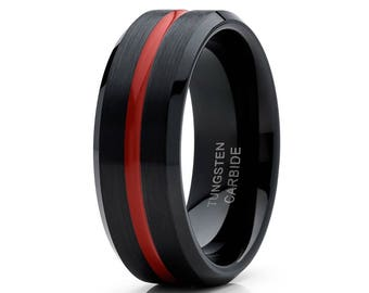 Red Tungsten Wedding Band Men & Women Black Tungsten Wedding Ring Tungsten Carbide Ring Comfort Fit Engagement Band