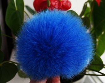 Real Fur pom pom, Fox fur pom pom, Large pom pom, Fur pom pom hat, Fox pom pom, Fur ball Blue fur pom pom.