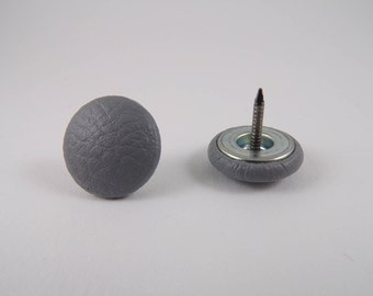 6 nail gray 20mm faux leather-covered buttons