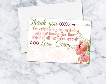 Bohemian Chic Customizable Thank You Card, Set of 2 in a 5x7, Digital Download, Girl