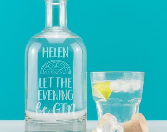 Personalised Let The Evening Be GIN Contemporary Engraved Drink Decanter Bottle for Gin Lover. Birthday, Christmas. Gin Gift
