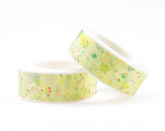 Green washi tape with paint splatters