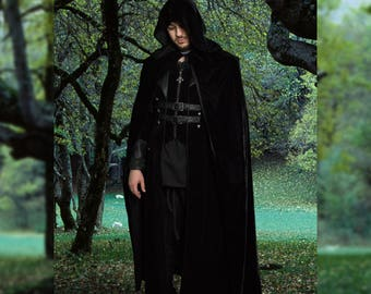 Henry cloak, Unisex long black velvet cape, Role play, LARP, Elegant fantasy costume