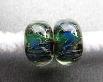 BORO Lampwork Beads Pair, Lampwork Pair, Ocean Hues Lampwork, Sapphire Blue, Emerald Green, Moss Green, Ivory, Adobe Red, OOAK - HGD3095