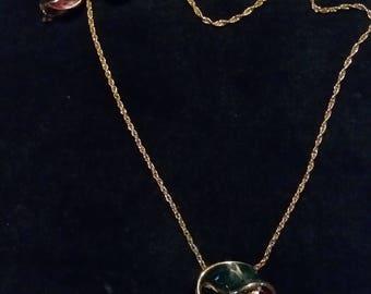 Enamel clip earrings & necklace set