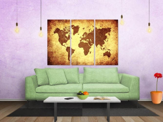 3 panel world map world map on canvas world map printed onto large 3 panel world map world map on canvas world map printed onto large canvas gumiabroncs Image collections