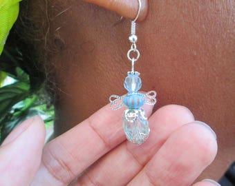 Blue Angel Earrings/Dangle Earrings/Hanging Earrings/Silver Earrings/ Jewelry Handmade/Hypoallergenic/Surgical Steel/Accessory