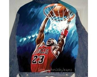 Hand painted denim jacket,Michael Jordan,michael jordan jacket,pop art jacket, hand painted jacket,painted jean jacket, painted denim