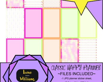 Arrows and Mosaic designs for your Classic Happy Planner; Full Box Stickers; Pink Yellow Green Orange