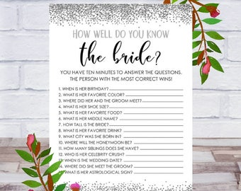 How Well Do You Know The Bride, Bridal Shower Game, Printable, Bachelorette Party, Cards Size 5x7, Silver Confetti, Instant DIGITAL DOWNLOAD