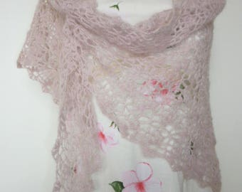 Hand-made crochet shawl lace, soft, pink,