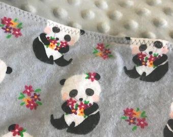 Flannel Panda Print Minky Blankie