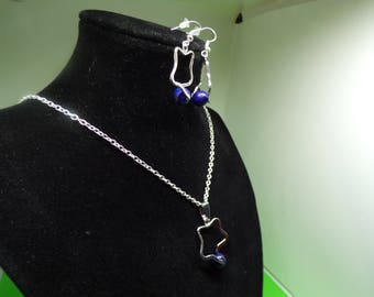 Set formed of a necklace and earrings with lapis lazuli bead