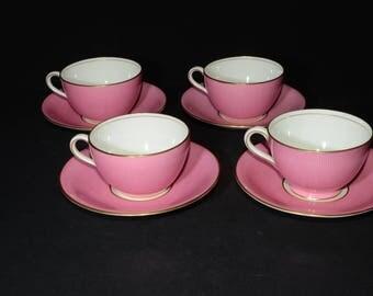 Antique, AYNSLEY, 1905-1925, Bone China, Pink Teacup and saucer, 4 sets, Gold Rimmed, England, Vintage, Cup, Gold design