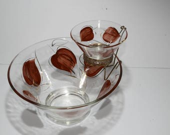 Vintage, Chip-n-Dip set, Vintage 50s Chip and Dip Set Glass Painted Leaves Leaf Brown Gold Clear Bowls Accent Modern, Chip and Dip Bowl Set