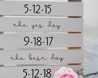 Personalized Dates Wedding Decor Sign