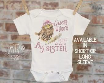 Guess Whoo Is Going To Be A Big Sister Owl Onesie®/T-Shirt, Woodland Style Onesie, Cute Onesie, Boho Baby Onesie, Girl Onesie - 264G