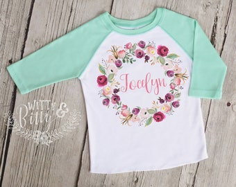Pink Mint Wreath Personalized Kids Raglan Shirt, Customized Kids Shirt, Girls Baseball Tee, Boho Kids Shirt, Girl Name Tee - R420J