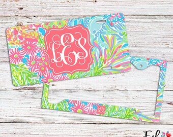 Monogrammed Lilly Inspired License Plate/Frame - Lovers Coral