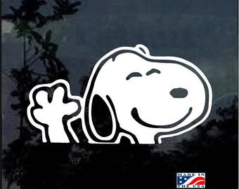 Snoopy Waiving Vinyl Window Decal Sticker