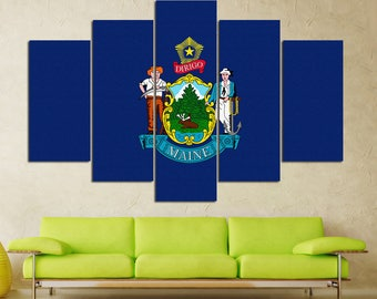 Maine flag Maine Maine wall art Maine state Maine  canvas Flag canvas US flag US flag wall art Flag