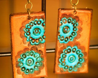 Sloane Motif Earrings | Leather Earrings | Birthday Gift | Anniversary | Gifts under 25 | Handmade | Gifts for Her