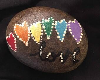 Hand painted rainbow heart love rock