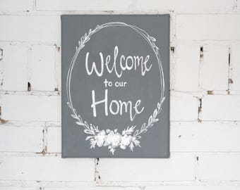 Hand Painted Canvas Art- Welcome to our Home