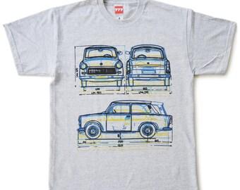 Trabant blue yellow tshirt vintage classic car german DDR