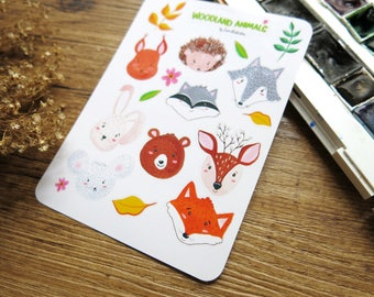 Woodland Animal Stickers  // Gouache Painting  // Transparent White  Stickers // Fox Bear Bunny Deer Wolf Hedgehog Squirrel Raccoon Mouse
