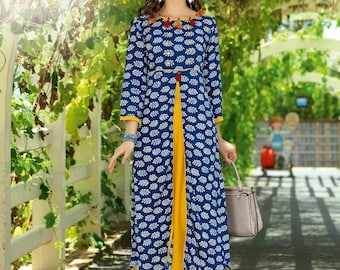 Indian Hand Embroidered Kurti/Kurta/Tunic/Top/Blouse, XL/42 Indian Ethnic wear, Bollywood, Rayon, Indian A-Line Dress,Indian Anarkali Kurta