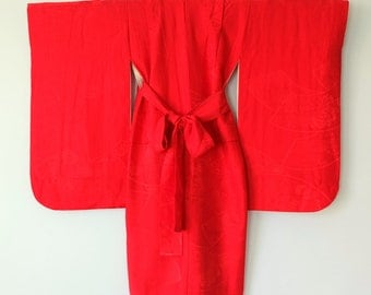 Authentic Japanese Vintage Girl's  Red Kimono  M207